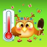 Coruja engraçada dos desenhos animados Com gelado em uma vara Perto do termômetro da rua Fotos de Stock