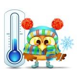 Coruja engraçada dos desenhos animados com o floco de neve perto do termômetro da rua Imagem de Stock Royalty Free