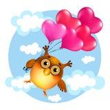 A coruja engraçada dos desenhos animados no amor está voando com os balões de um coração Imagens de Stock