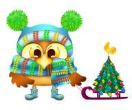 Coruja engraçada na árvore do chapéu e de Natal do inverno Imagens de Stock