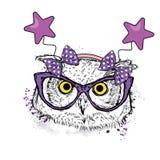 Coruja engraçada nos vidros e borda festiva com as estrelas Vector a ilustração para um cartão ou um cartaz ilustração stock