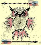 Coruja ideal decorativa indiana do coletor no estilo gráfico Ilustração ilustração stock