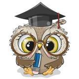 Coruja inteligente com l?pis e no tamp?o da gradua??o ilustração do vetor