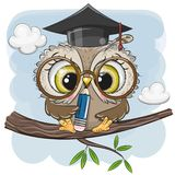 Coruja inteligente com l?pis e no tamp?o da gradua??o ilustração stock