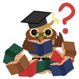 Coruja inteligente com livros ilustração do vetor