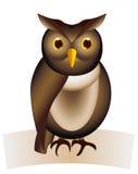 Coruja marrom pequena engraçada tirada Imagens de Stock Royalty Free