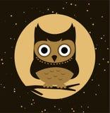 Coruja na noite Imagens de Stock