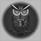 Coruja preto e branco no vetor no EPS ilustração stock