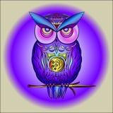 Coruja roxa mágica no ramo ilustração stock