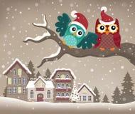 Corujas do Natal na imagem 3 do tema do ramo Fotos de Stock Royalty Free