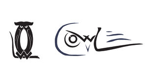 Corujas emblema Posturas diferentes das corujas Imagem de Stock Royalty Free