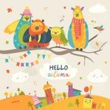Corujas engraçadas no ramo do outono Fotografia de Stock