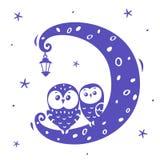 corujas na lua Fotos de Stock Royalty Free