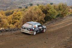 Corum Hitit Rally. CORUM, TURKEY - OCTOBER 29, 2016: Faruk Guzelcaliskan drives Opel Astra GTI in Corum Hitit Rally Royalty Free Stock Image