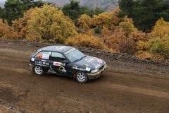 Corum Hitit Rally. CORUM, TURKEY - OCTOBER 29, 2016: Faruk Guzelcaliskan drives Opel Astra GTI in Corum Hitit Rally Royalty Free Stock Images