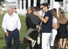 A CORUNA, SPAIN - JULY 20: Marta Ortega, Carlos Torretta,Amancio jr and Amancio Ortega during CSI Casas Novas Horse Jumping