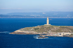A Coruna - Tower of Hercules. View on the famous lighthouse or Hercules Tower of A Coruna, Galicia, Spain. This lighthouse is more than 1900 years old and is the Royalty Free Stock Photos