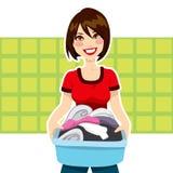 Corvées de blanchisserie de femme illustration de vecteur