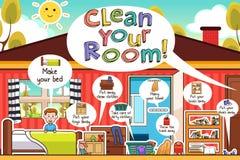 Corvées Infographic de pièce de nettoyage d'enfants illustration de vecteur
