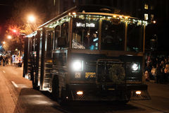 Corvallis retro holiday shuttle bus drives in holiday parade Royalty Free Stock Photography