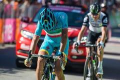 Corvara, Италия 21-ое мая 2016; Vincenzo Nibali, профессиональный велосипедист, проходит финишную черту этапа Стоковая Фотография RF