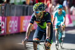 Corvara, Italy May 21, 2016; Alejandro Valverde, professional cyclist,  pass the finish line of the stage Royalty Free Stock Photography