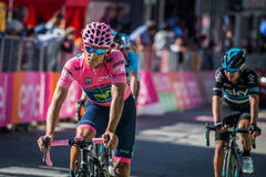 Corvara, Italy May 21, 2016; Andrey Amador, professional cyclist,  pass the finish line and lost his pink jersey in the queen stag Stock Photography
