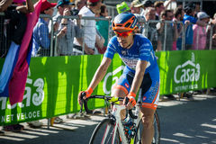 Corvara, Italy May 21, 2016; Damiano Cunego in blu jersey pass the finish line of the queen stage Royalty Free Stock Photos