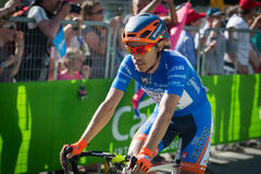 Corvara, Italy May 21, 2016; Damiano Cunego in blu jersey pass the finish line of the queen stage Stock Images