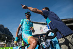 Corvara, Italy May 21, 2016; Professional cyclist Astana after  the finish of the stage Royalty Free Stock Image