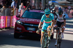 Corvara, Italy May 21, 2016; Vincenzo Nibali, professional cyclist,  pass the finish line of the stage Royalty Free Stock Photos
