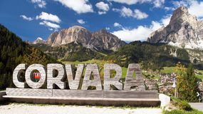 Corvara, sport centre in Dolomites mountains Royalty Free Stock Images