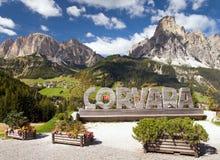 Corvara, sport centre in Dolomites mountains Stock Photos