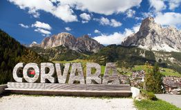 Corvara, sport centre in Dolomites mountains Royalty Free Stock Photos