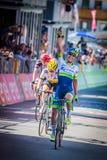 Corvara, Włochy Maj 21, 2016; Esteban Chaves, fachowy cyklista, przechodzi metę i wygrywa Obrazy Stock