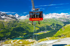 Corvatch cable car with Upper Engadin valley near Sankt Moritz Stock Photo