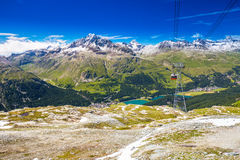 Corvatsch cable car with Upper Engadin Valley in Swiss Alps Royalty Free Stock Photo
