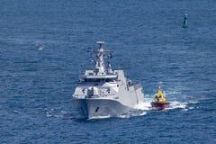 Corvetta della classe di SIGMA di KRI Iskandar Muda 367 che appartiene alla marina nazionale indonesiana Sydney Harbor di partenz fotografia stock