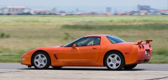 Corvette. Panned on an airport stock photos