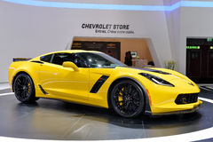 Corvette C7. Yellow Corvette C7 pictured at the Geneva Motor Show in Switzerland, 2014 Royalty Free Stock Photo