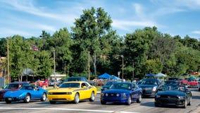Corvette, challengeur, mustangs, croisière rêveuse images libres de droits