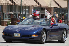 Corvette Club car in parade in small town America Stock Image