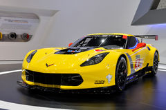 Corvette GT-R racing car. Yellow corvette GT-R racing car pictured at the Geneva motor show in Switzerland, 2014 Stock Image