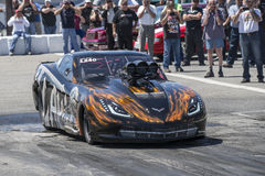 Corvette pro mod. NHRA National Open July 12–13-14, 2015, picture of chevrolet corvette pro mod in preparation on the track at the starting line stock photography