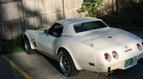 corvette is standing on the parking lot. Vintage car in good condition stock image