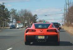 Corvette Stingray C7 auf der Straße Redaktionelles Foto - Bild stockfotografie