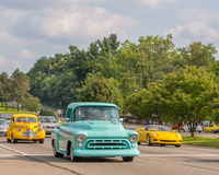 Corvette and two vintage vehicles at the Woodward Dream Cruise Stock Photos