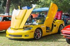 Corvette Z06 car on dislplay. Woodland Hills, CA, USA - May 30, 2015: Corvette Z06 car on dislplay during 12th Annual LAPD Car Show & Safety Fair Royalty Free Stock Photos