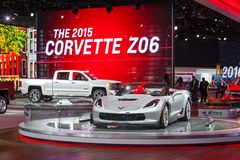 Corvette ZO6 2015 Detroit Auto Show. DETROIT - JANUARY 15: The Corvette Z06 convertible on display January 15th, 2015 at the 2015 North American International Royalty Free Stock Image