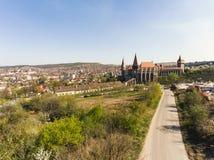 Corvin Castle from Hunedoara. A beautifull drone shot with Corvin Castle from Hunedoara Stock Photo